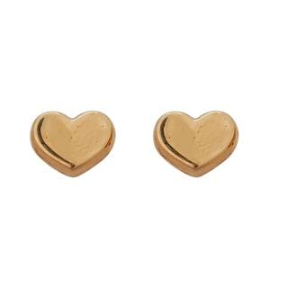 Decadence 14k Yellow Gold High-polish Heart Hat Stud Earrings