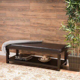 Christopher Knight Home Avary Wood Rectangular Storage Ottoman Bench with Bottom Rack