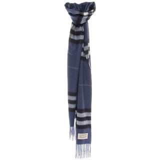 Burberry Classic Thistle Blue Check Cashmere Scarf