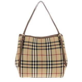 Burberry 'Small Canter' Horseferry Check Tote Bag with Equestrian Saddle Straps
