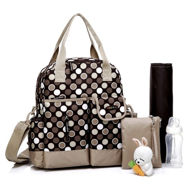Colorland Brown Polka Multifunction Nappy Diaper Backpack