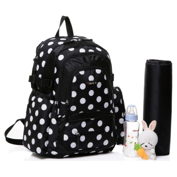 Colorland Large Backpack Diaper Bag, Black Polka Large Backpack Diaper Bag, Black Polka