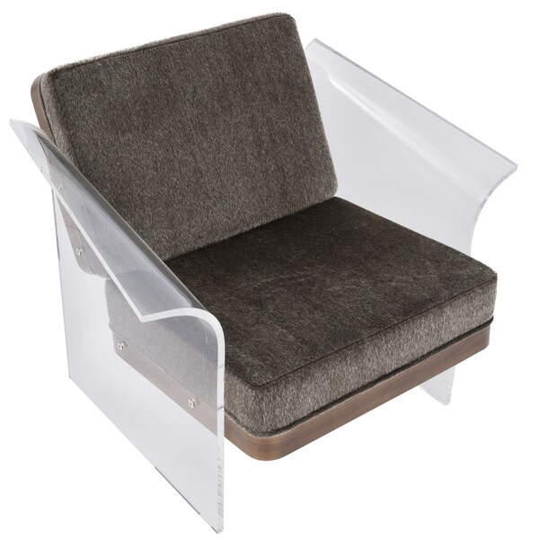 Mohair Fabric Walnut Wood Float Acrylic Accent Chair