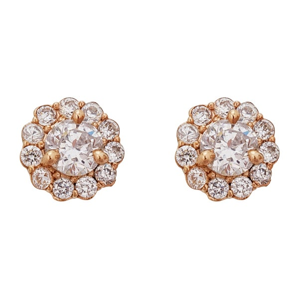 Decadence 14k Yellow Gold Rosetone Cluster Hat Stud Earring