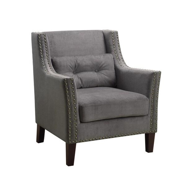 Silver Nailhead Trim Grey Linen Arm Chair