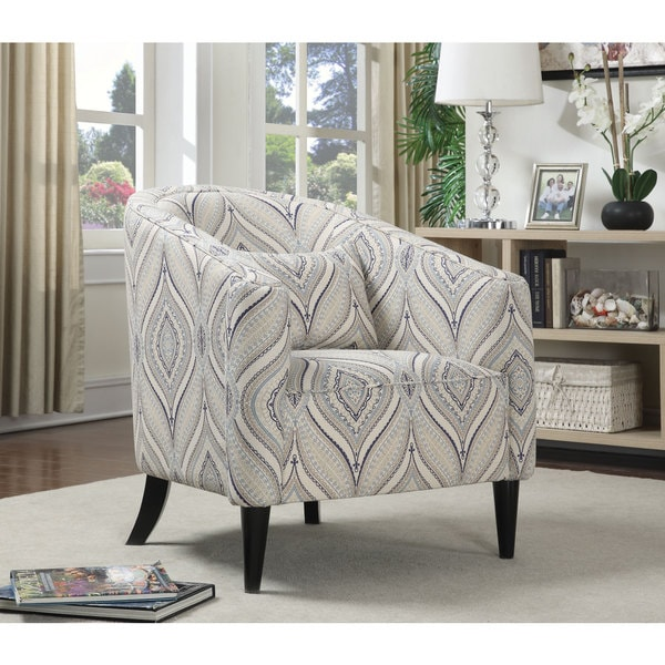 Trellis Blue And White Barrel Chair 19035035 Overstock
