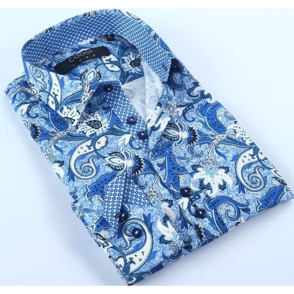Coogi Mens Blue/White Paisley Dress Shirt