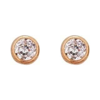 Decadence 14k Yellow Gold Basic Round Bezel 4mm Hat Screw-back Stud Earrings