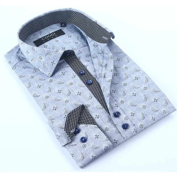 Coogi Mens Chambray Paisley Dress Shirt
