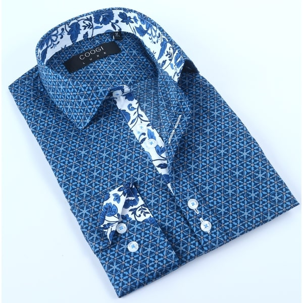 Coogi Mens Navy /Blue Pattern Dress Shirt