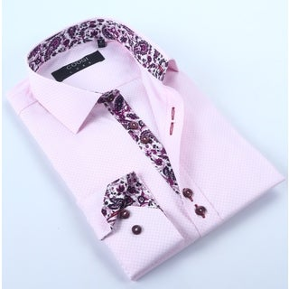Coogi Mens Pink with Paisley Trim Dress Shirt