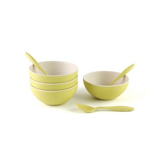 Peterson Housewares Small Bamboo Bowls with Spoons (Set of 4)