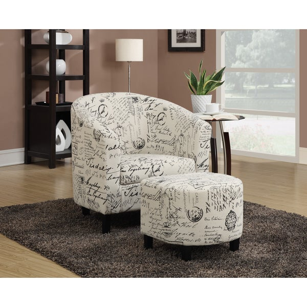 French Script White Accent Chair and Ottoman