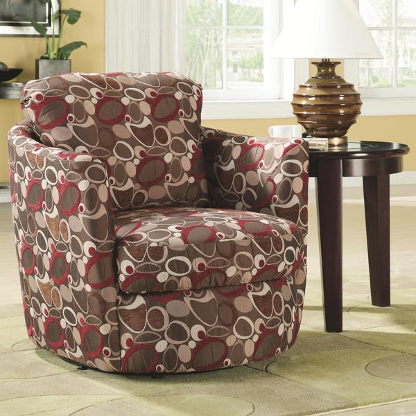 Red Print Swivel Barrel Chair