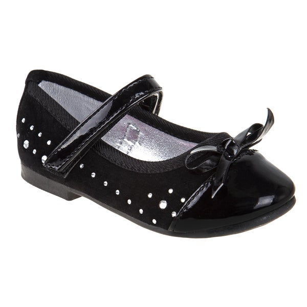 Rugged Bear Girls' Suede Sparkle Ballerinas