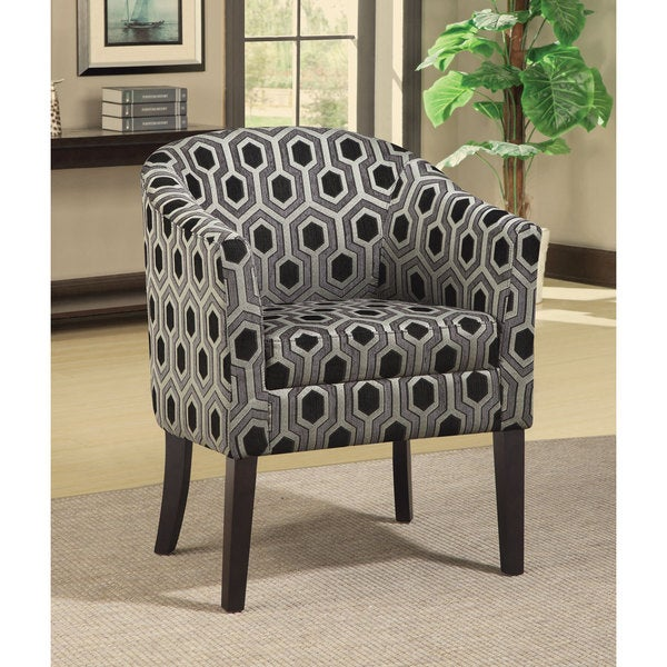 Coaster Company Charlotte Black/ White Geometric Barrel Chair