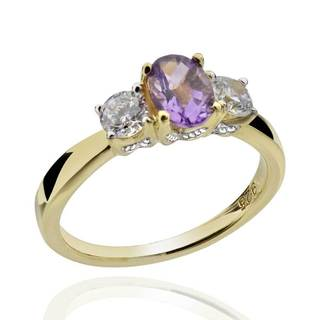 Sterling Silver 14Kt Gold-Plated Brazilian Amethyst & CZ 3-Stone Ring