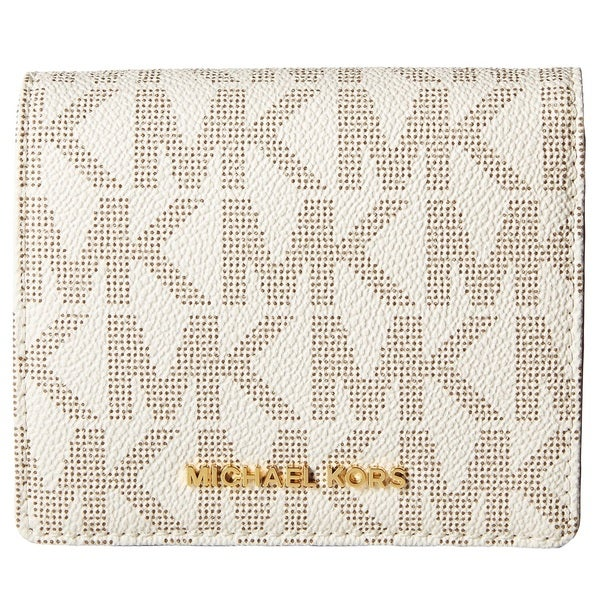 Michael Kors Jet Set Travel Carryall Card Case Vanilla Wallet
