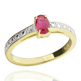 Sterling Silver Two-Tone 6x4mm Oval Created Ruby & Diamond Accent Ring