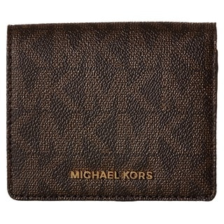 Michael Kors Jet Set Travel Signature Brown Carryall Card Case