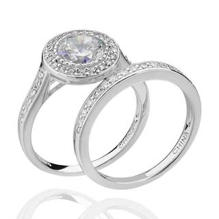 Sterling Silver 2.5 Ct tcw Cubic Zirconia 2-Piece Halo Bridal Ring Set (China)