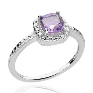 Sterling Silver Cushion-cut Brazilian Amethyst and Diamond Accent Ring