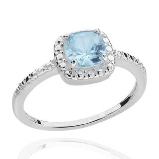 Sterling Silver 6mm Square Cushion-Cut Blue Topaz & Diamond Accent Ring