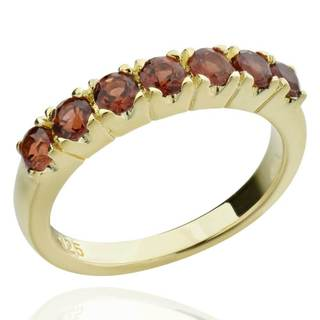 14k Goldplated Sterling Silver Round-cut Mozambique Garnet Ring (China)