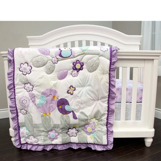 Baby's First Love Birds Purple 3-piece Crib Bedding Set