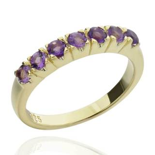 Sterling Silver 14k Gold-plated Round-cut Brazilian Amethyst Ring