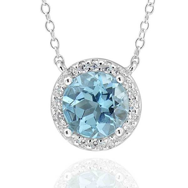 Sterling Silver Round Blue Topaz & Cubic Zirconia Pendant 18-Inch Chain Necklace (China)