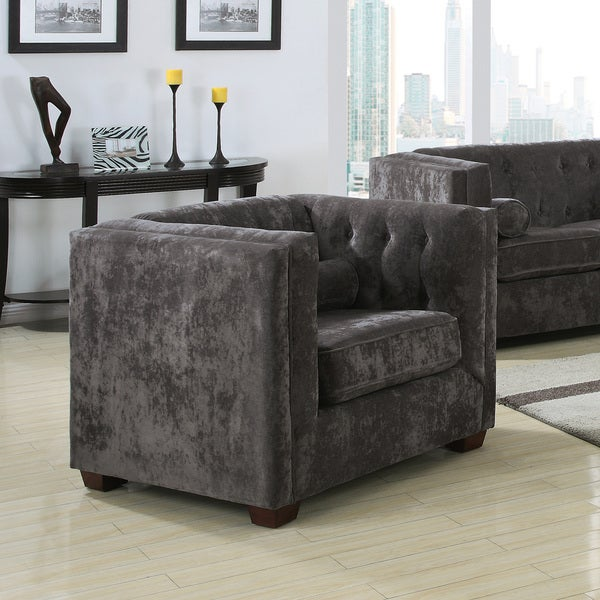 Charcoal Microvelvet High Track Arm Chair