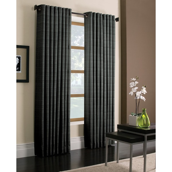 Miller Curtains Darien Charcoal 84-inch Grommet Curtain Panel