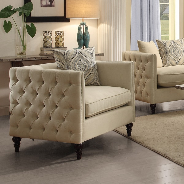Cream Linen-Blend Tufted Tuxedo Chair