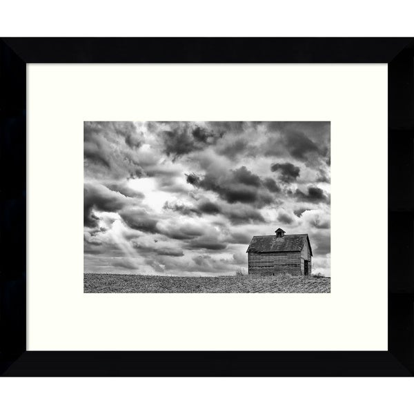 Framed Art Print 'On the Hill (Barn)' by Trent Foltz 11 x 9-inch