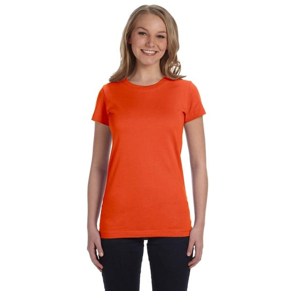 Juniors' Fine Jersey T-Shirt Orange