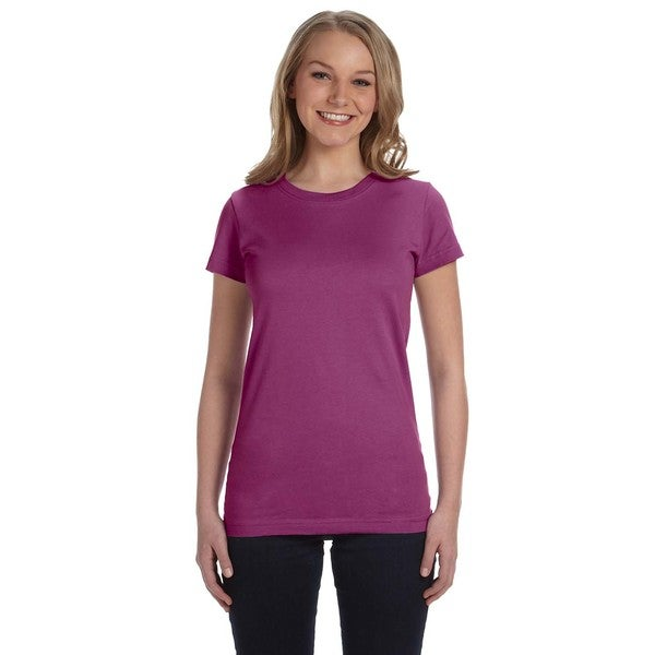 Juniors' Fine Jersey Plum-colored Cotton T-Shirt