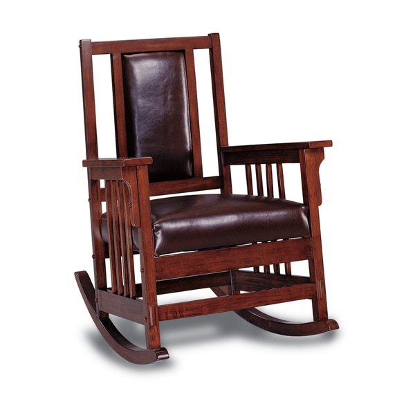 Dark Oak Wood Padded Leather Rocker Chair