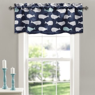 Lush Decor Whale-themed Polyester Room Darkening Valance Set