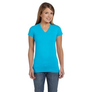 Juniors' Aqua Fine Jersey V-Neck Longer Length T-shirt