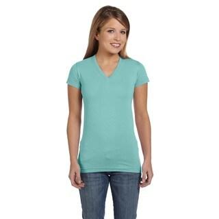 Juniors Blue Fine Jersey V-Neck Longer-length T-shirt