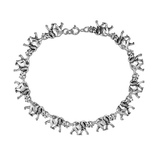 Double Sides Safari Elephant Link 925 Silver Bracelet (Thailand)