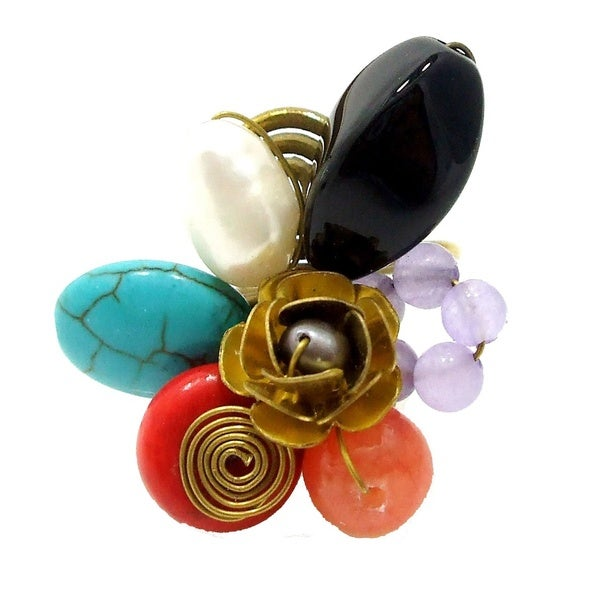Handmade Ruffled Rose Multicolor Stone Cluster Free Size Brass Ring (Thailand) 19562257