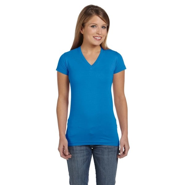 Juniors' Cobalt Fine Jersey V-neck Longer Length T-shirt