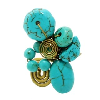 Turquoise Stone Cluster Free Size Adjustable Handmade Ring (Thailand)