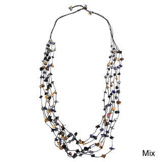 Earthy Floating Mix Stones Cotton Rope Multistrand Necklace (Thailand)