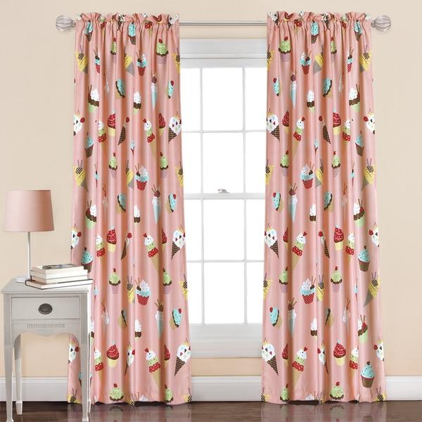 Lush Decor Cupcake Ice Cream Pink Polyester Window Curtain Panel Pair