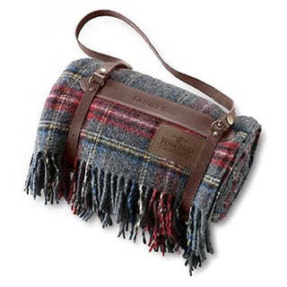 Pendleton 5th Avenue Grey Stewart Throw with Leather Carrier