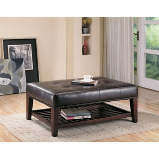 Brown Faux Leather Tufted Ottoman with Shelf