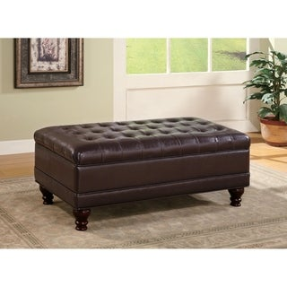 Brown Faux Leather Oversized Storage Ottoman